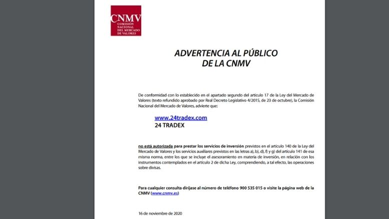 Warnung von der CNMV -24tradex