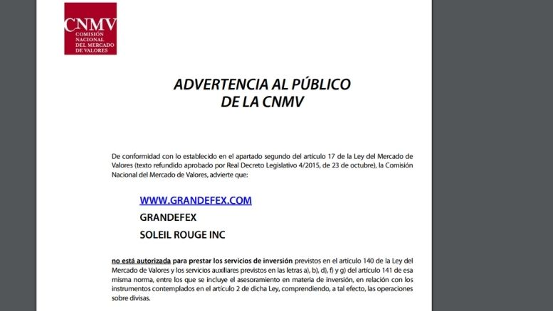 Warnungen der CNMV