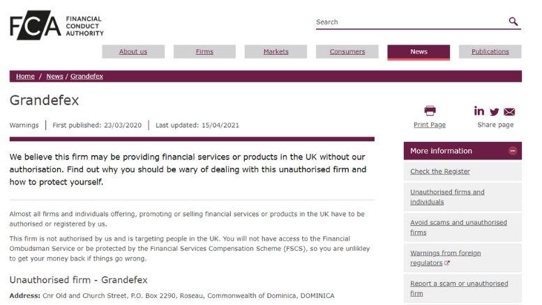 Warnungen der Financial Conduct Authority