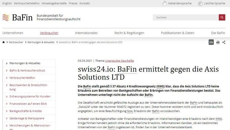 BaFin hat Axis Solutions LTD auf die schwarze Liste gesetzt