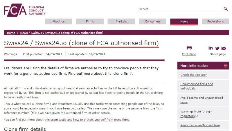 FCA hat Swiss24 auf die schwarze Liste gesetzt