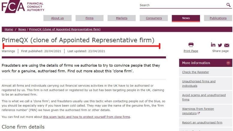 Financial Conduct Authority (FCA) setzte PrimeQX auf die schwarze Liste