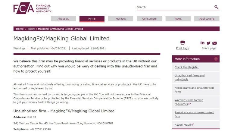 MagKing Global Limited betrug