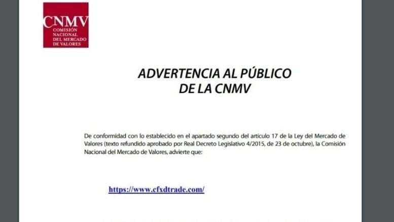 Spanische CNMV spricht eine Warnung aus Cfxdtrade