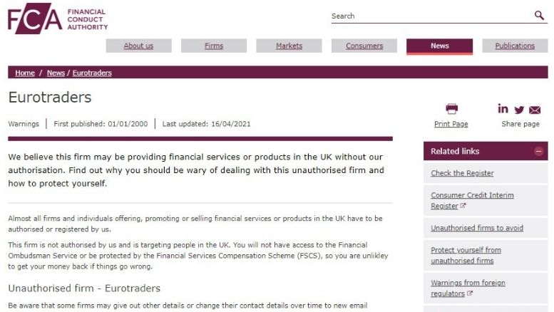 UK FCA warned about Eurotrade Investments RGB Ltd