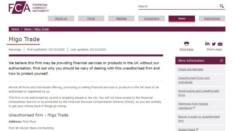MigoTrade Warnungen von Finanzaufsichtsbehörden