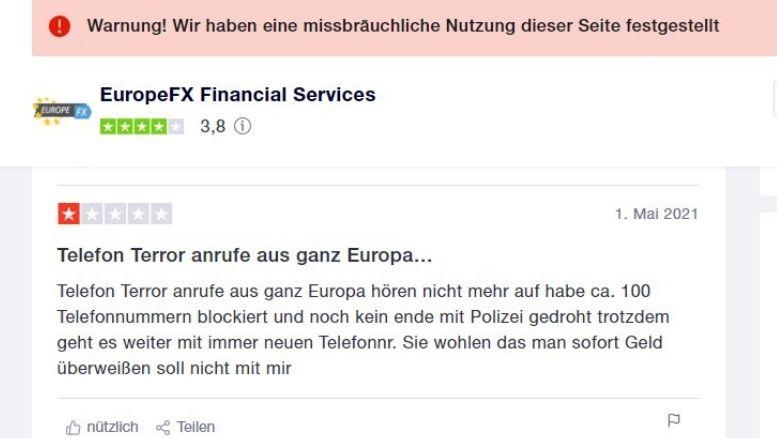 Traderbewertungen über EuropeFX broker